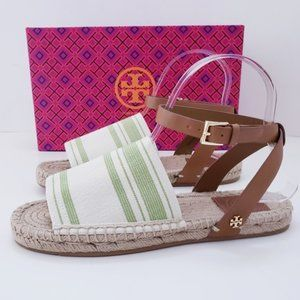 Tory Burch Reva Espadrille Sandals Leather Canvas